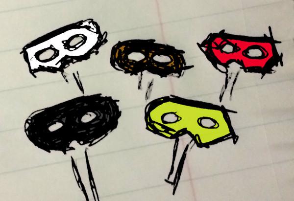 masks held up by sticks