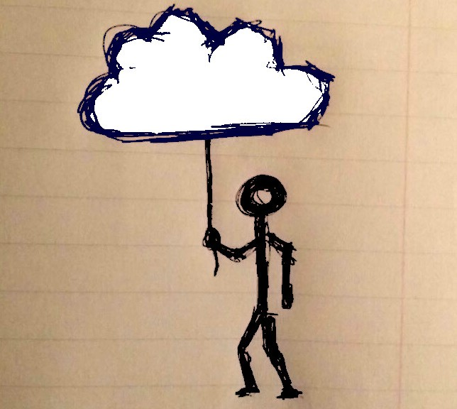 figure hold cloud on a string