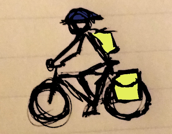 bicyclist with bags