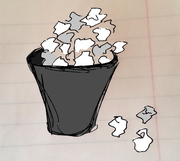 drawing of recycling can overflowing with discarded paper