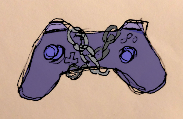 drawing of chained gamepad